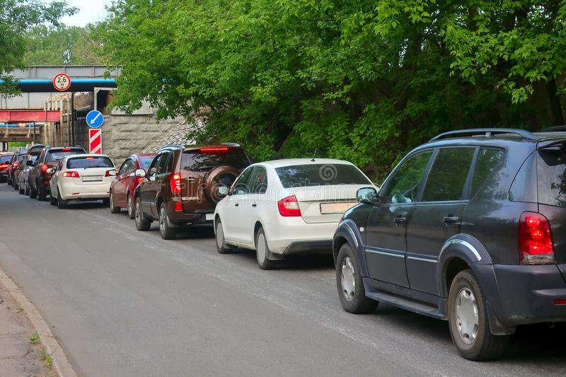 Cars stuck in traffic on a narrow one-way road. In anticipation of the start of traffic royalty free stock image