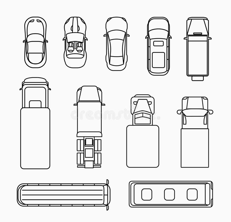 Cars Thin Line Icons Top View Stock Vector