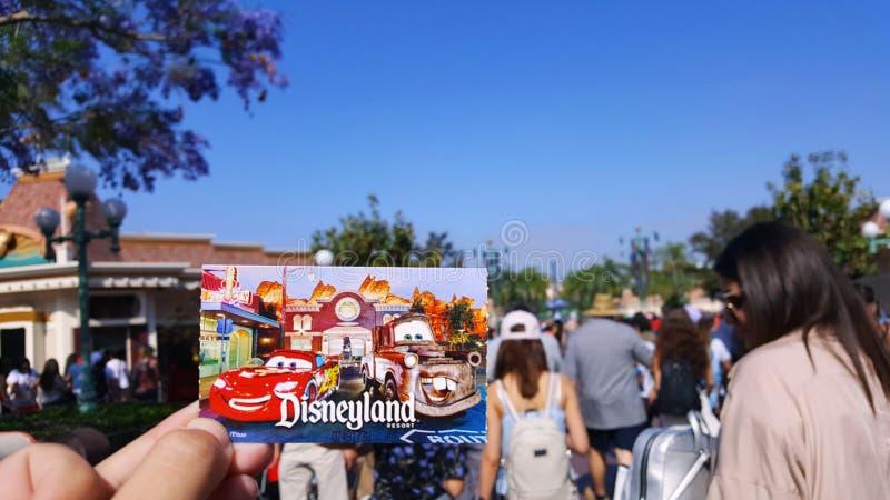Ticket to California Adventure Disney Park, Anaheim, California, United States. `Cars` Ticket to California Adventure Disney Park, Anaheim, California, United royalty free stock photo