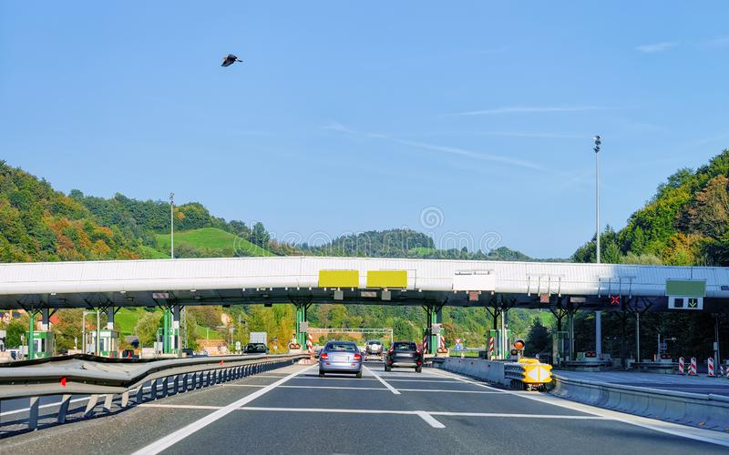 Cars at Toll booth with Blank signs road Slovenia stock image
