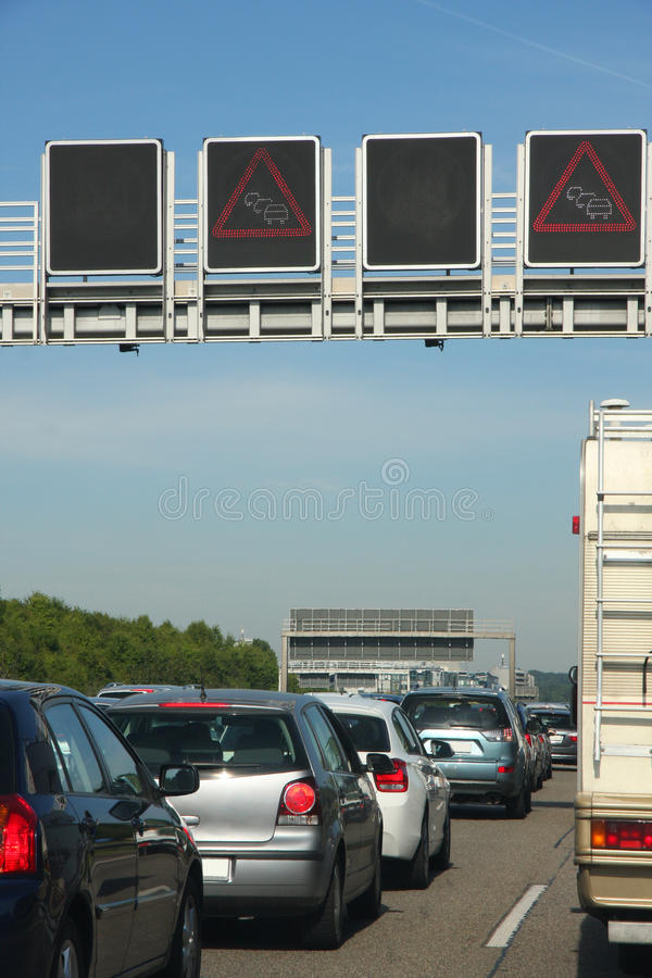 Cars in traffic jam on highway royalty free stock images