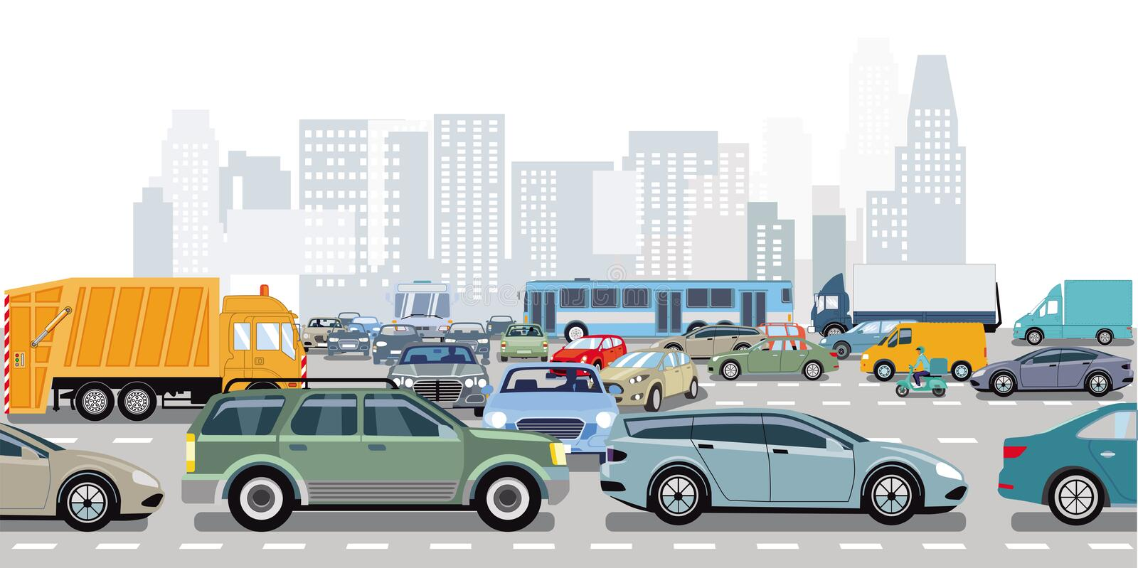 Cars in traffic jam at the intersection. Illustration vector illustration