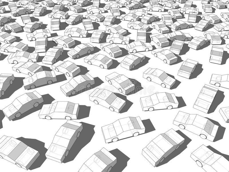Cars in traffic jam. Many white cars standing out from others in giant traffic jam vector illustration