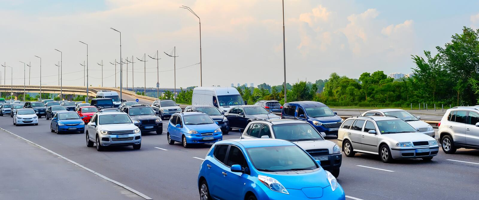 Cars traffic jam panoramic view stock photo