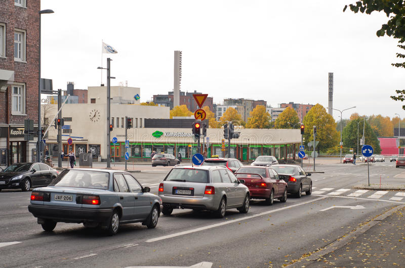 Cars in traffic lights. A queue of cars in traffic lights in Tampere, Finland stock images