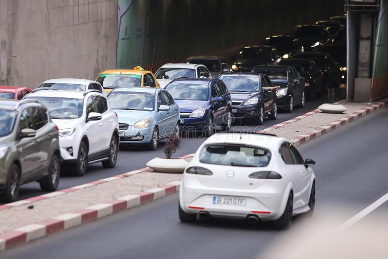 Cars in traffic in a passage seen from above, in Bucharest stock photos