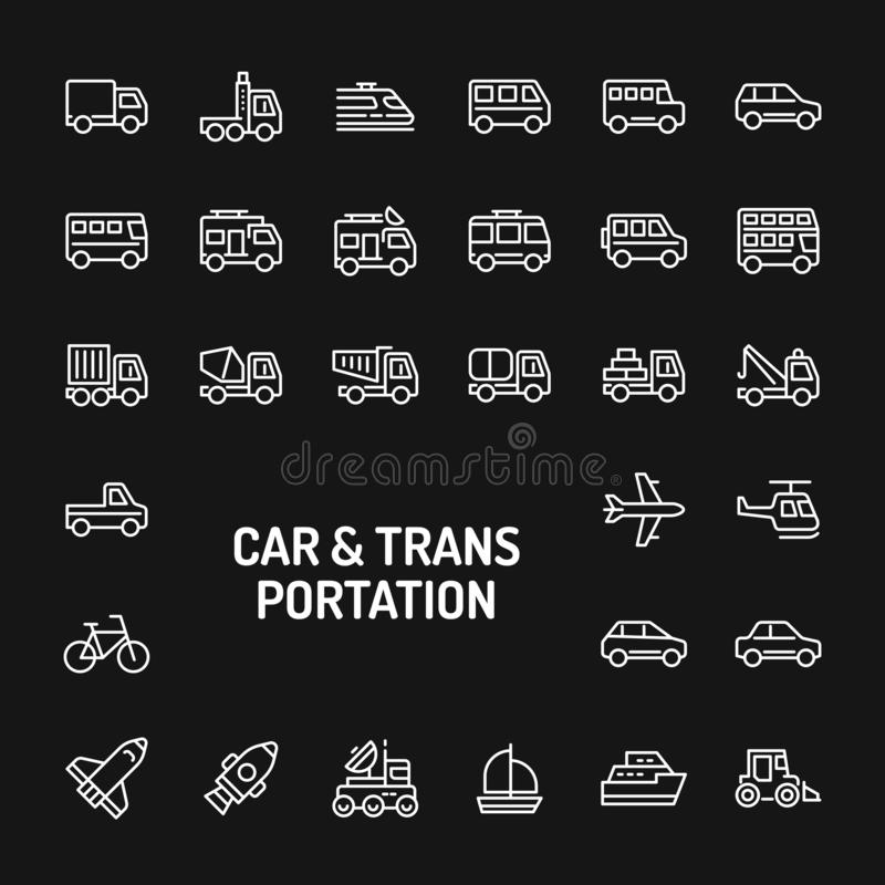 Cars & Transportation Simple Line Icon Set. Simple white line icons isolated over black background related to cars & transportation. Vector signs and symbols stock illustration