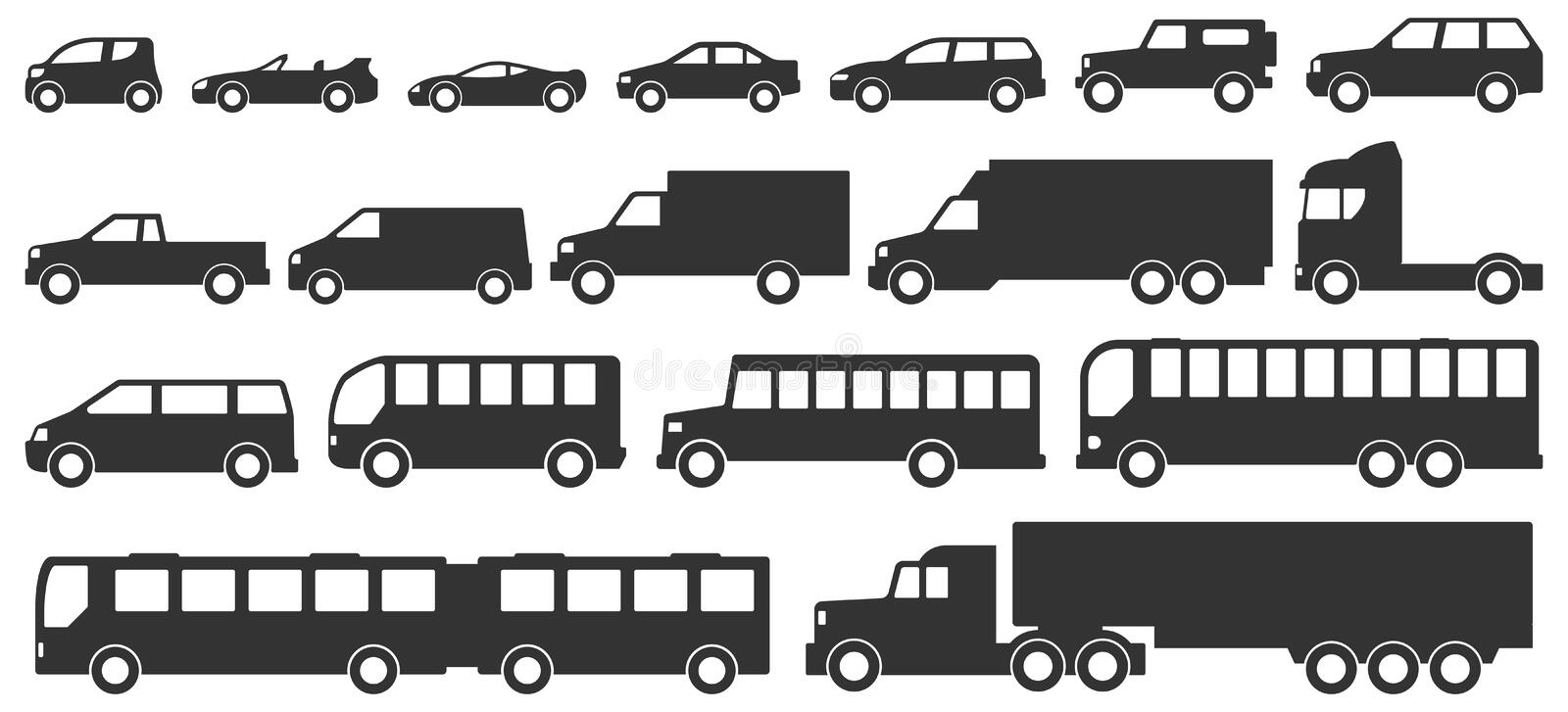Cars and truck silhouettes isolated on white background stock illustration