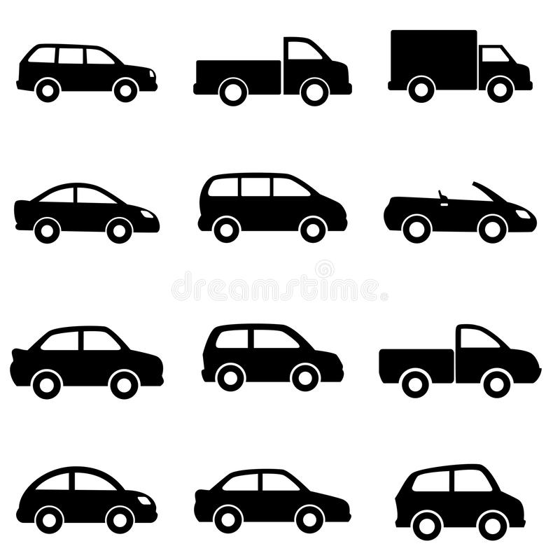 Cars and trucks. In black stock illustration