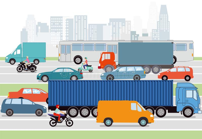 Cars and trucks illustrated in city. City streets illustrated with cars and trucks with silhouette of skyline vector illustration