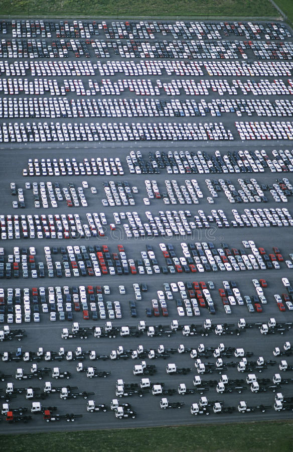 Download Cars And Trucks Parked In Carpark View From Above Stock Image - Image: 30847553