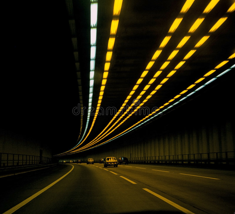 Cars in tunnel royalty free stock photos