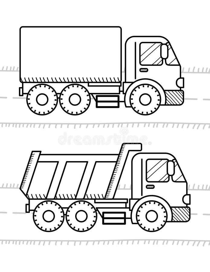 Cars and vehicles coloring book for kids. Dump Truck, truck royalty free illustration