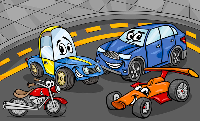 Cars vehicles group cartoon illustration royalty free illustration