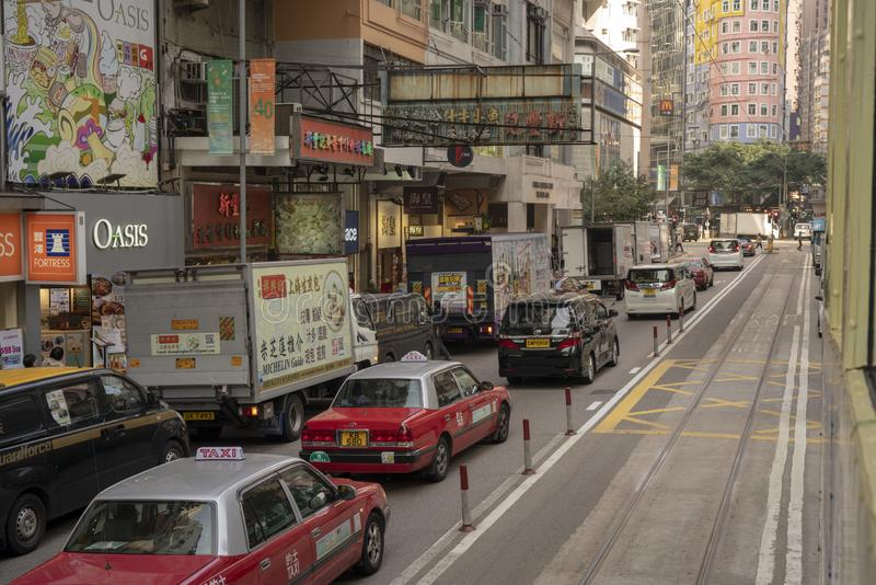 Cars waiting for the traffic lights. Cars are waiting for the traffic lights, photo took at Central, Hongkong, China, 22nd, January, 2019 royalty free stock images