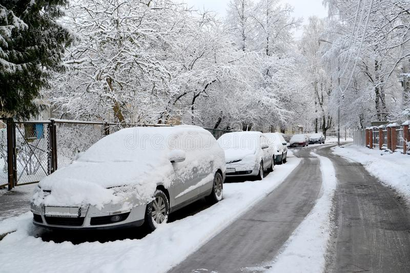 The cars which are filled up with snow stand on the street of Kaliningrad stock image