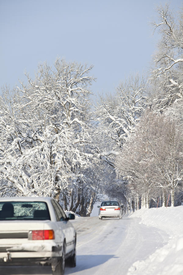 Download Cars on Winter Road stock photo. Image of scenics, january - 13021428