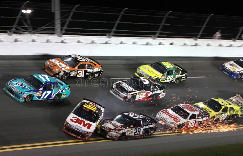 Cars wreck at Daytona stock photography