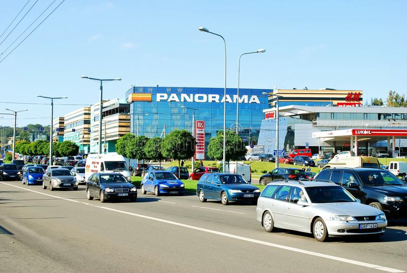 Cars in Zverynas district in Vilnius city and Panorama shop center royalty free stock photos