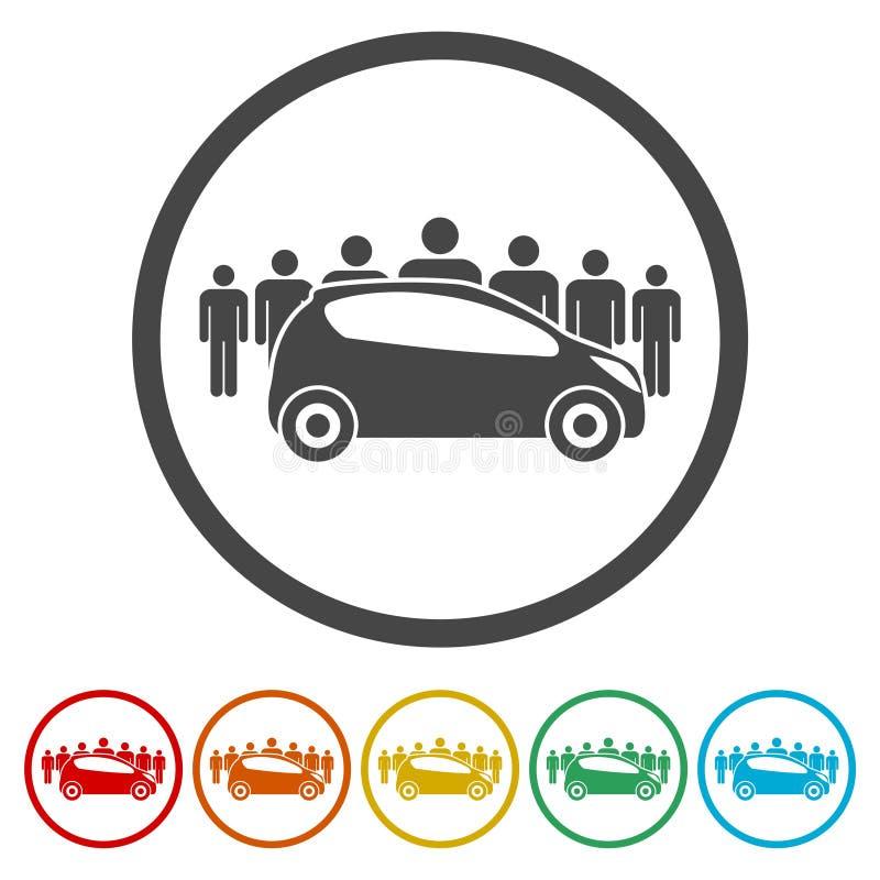 Carsharing- Ikone, Carsharing- Symbol, 6 Farben Eingeschlossen ...