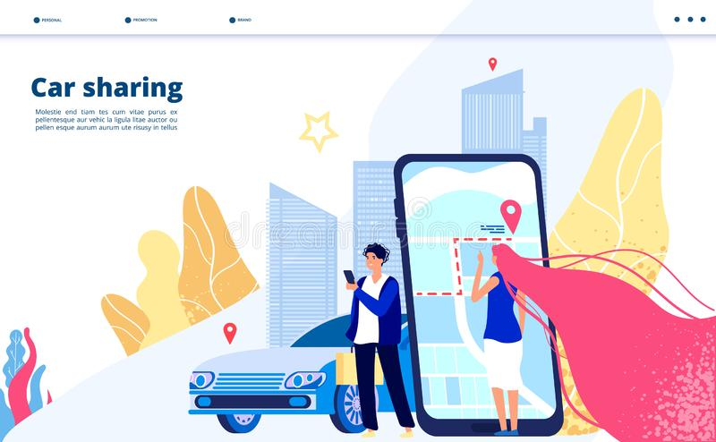 Carsharing landing. Carpooling travel by multiple people together driver with car renting for city trip. Transportation royalty free illustration