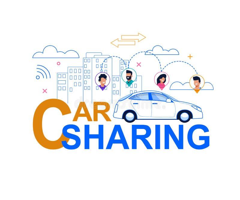 Carsharing- Linie Art Banner Wirtschafts-Fahrservice lizenzfreie abbildung