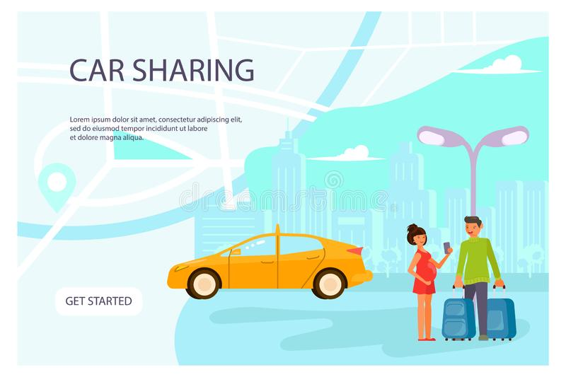 Carsharing page website vector illustration