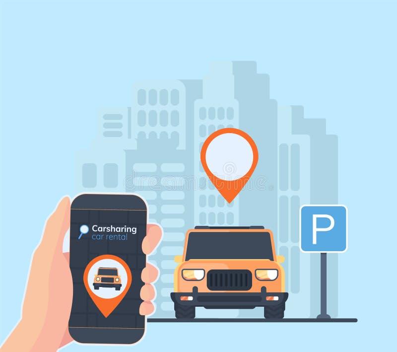 Carsharing usługowa ilustracja Miastowy krajobrazowy tło, geolocation, samochód i smartphone w ręce, Online do wynajęcia samochód ilustracja wektor