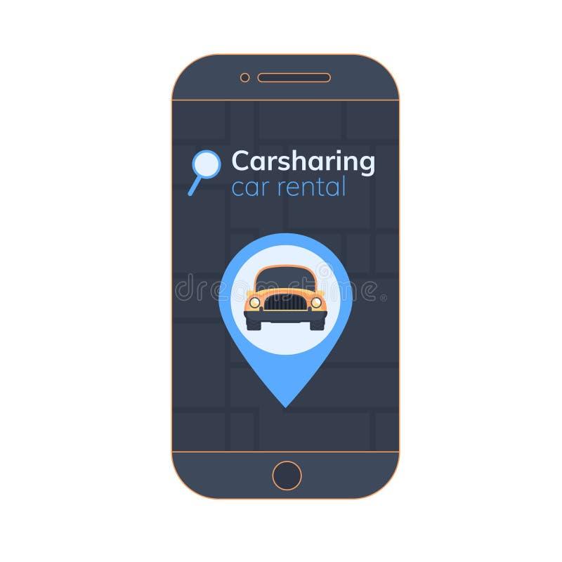 Carsharings mobiele app illustratie Kaart, geolocationteken, met auto op het schermsmartphone De online dienst van de huurauto stock illustratie