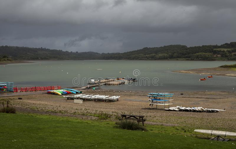 Carsington Water, Derbyshire, England - kayaks and clouds. stock image