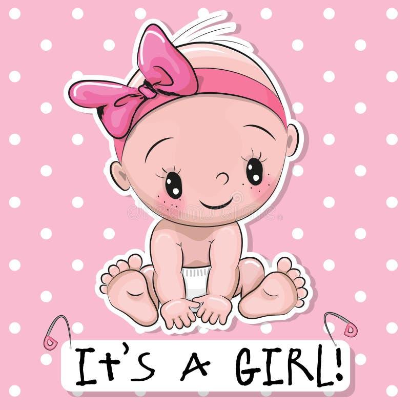 Cartão é uma menina com bebê ilustração stock