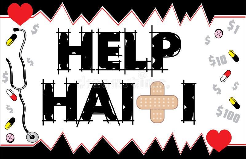 Cartão 2 de Haiti da ajuda ilustração stock