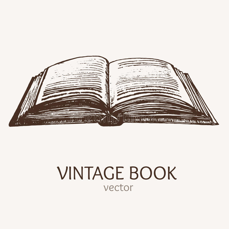 Cartão aberto do esboço da tração da mão de livro do vintage Vetor ilustração royalty free