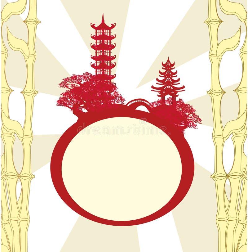 Cartão abstrato com construções asiáticas ilustração do vetor