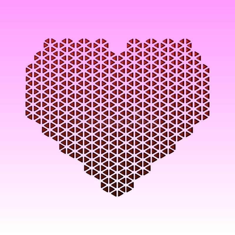 Cartão abstrato com o coração vermelho feito dos triângulos Um dia do Valentim s do coração do mosaico, eu te amo corte do papel ilustração royalty free