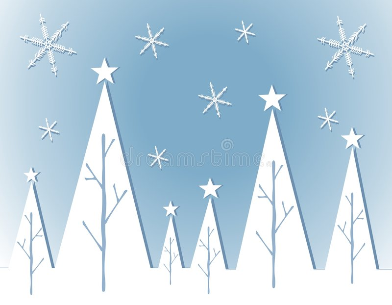 Cartão abstrato da árvore de Natal branco ilustração do vetor