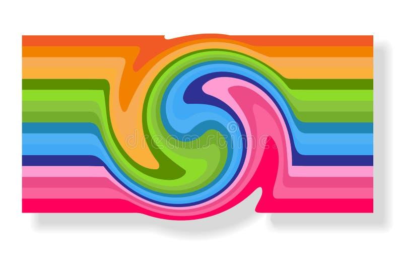 Cartão abstrato da bandeira para anunciar o remoinho das linhas coloridas espirais de roda torção do redemoinho da espiral no fun ilustração do vetor