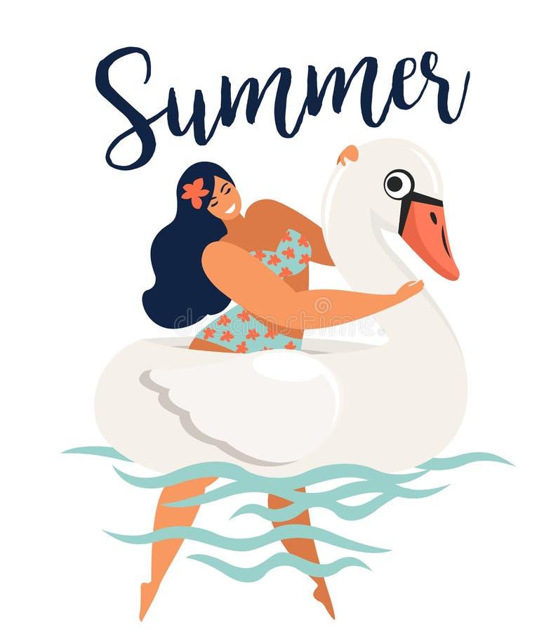 Cartão abstrato da ilustração das horas de verão do vetor com natação da menina no círculo do flutuador da cisne em ondas de ocea ilustração stock