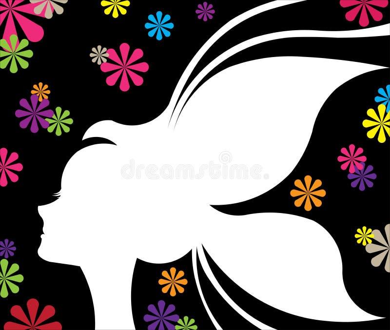 Cartão abstrato da sombra das mulheres da borboleta do projeto ilustração stock