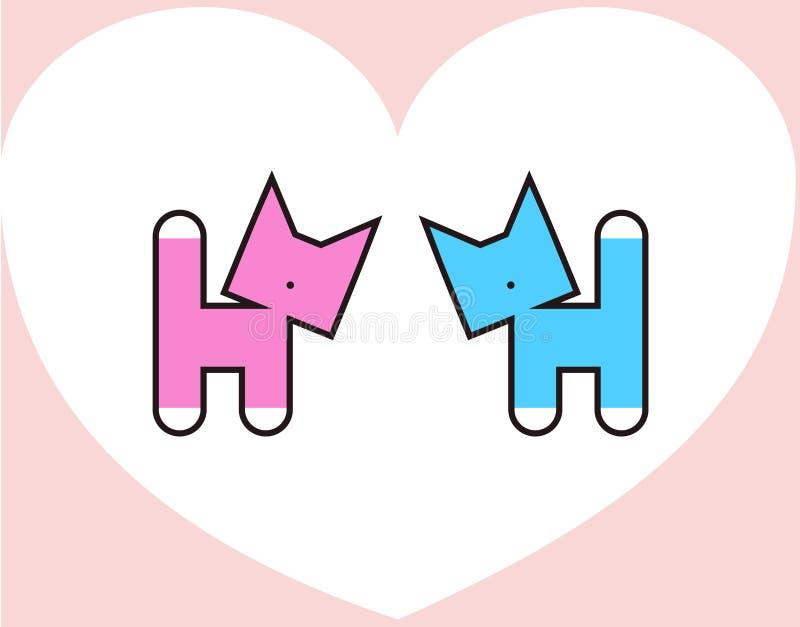 Cartão abstrato de dois pares do amor do gato para o dia do ` s do Valentim ilustração stock