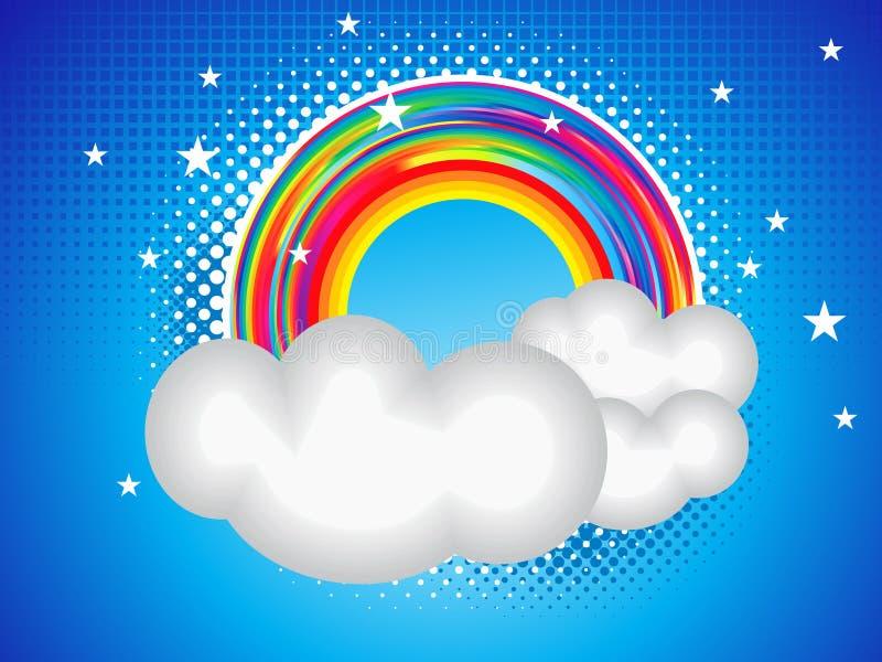 Cartão abstrato do arco-íris com nuvem ilustração royalty free