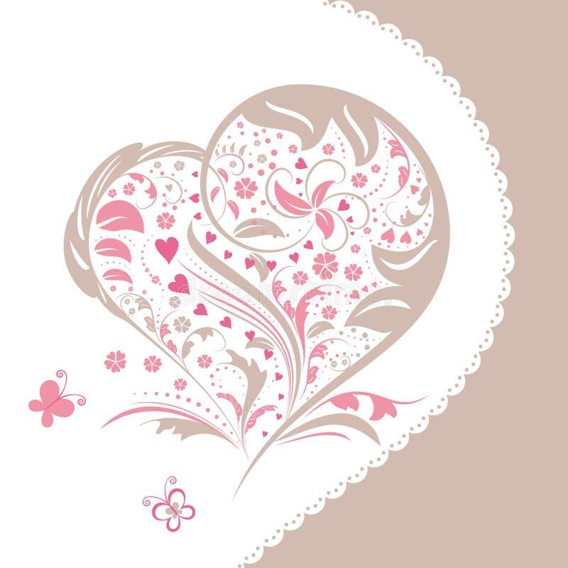 Cartão abstrato do convite da forma do coração da flor ilustração royalty free