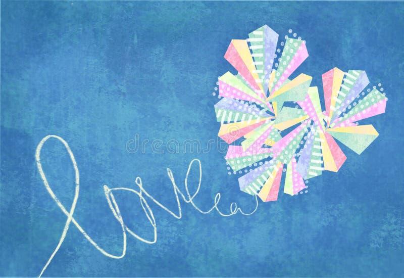 Cartão abstrato do coração do amor Coração abstrato feito por triângulos coloridos e pelos rombs, decorados com pontos e linhas b ilustração stock