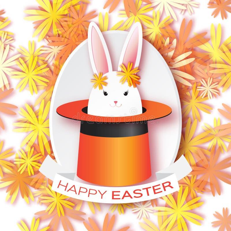 Cartão alaranjado do origâmi com Páscoa feliz - com coelho branco da Páscoa ilustração royalty free