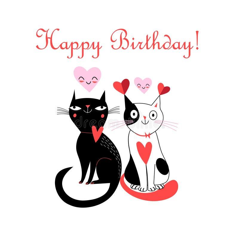 Cartão alegre com os gatos no amor ilustração royalty free