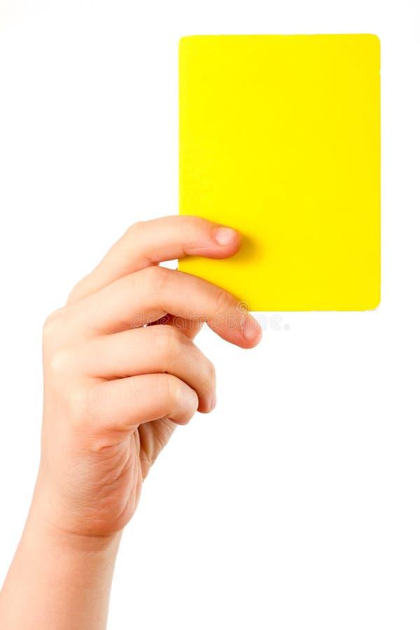 Cartão amarelo à disposicão fotos de stock