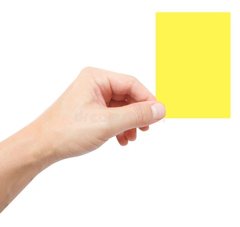 Cartão amarelo fotografia de stock