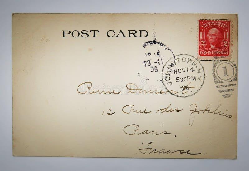 Cartão americano antigo com selo de NY imagem de stock
