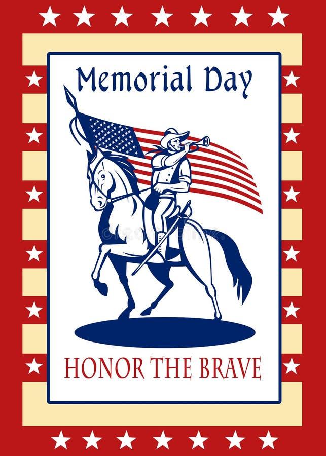 Cartão americano do poster do Memorial Day do patriota ilustração do vetor