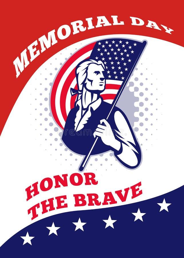 Cartão americano do poster do Memorial Day do patriota ilustração stock